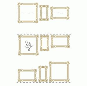 Disposition horizontale cadres tableaux sur mur amylee - Disposition cadre photo mur ...