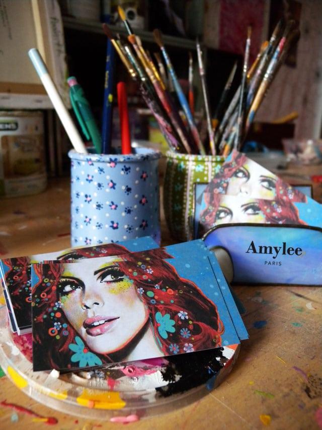 Cartes de visite d 39 artiste peintre mod le exemple amylee - Auto entrepreneur artiste peintre ...