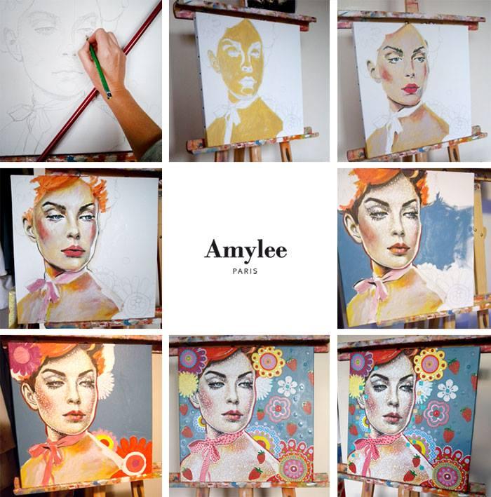 tableau amylee réalisation peinture étapes creation