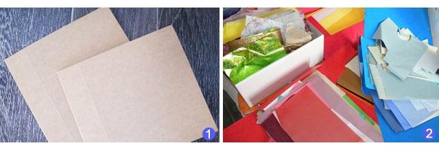 materiel carton papiers couleurs