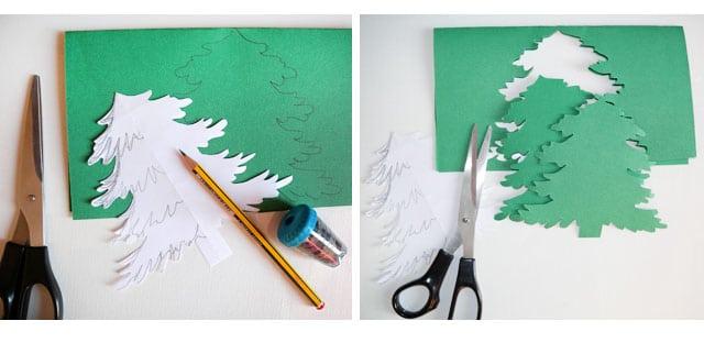 découpe sapin en papier vert