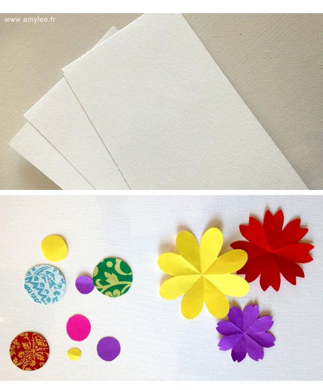 papiers découpés couleurs cartes