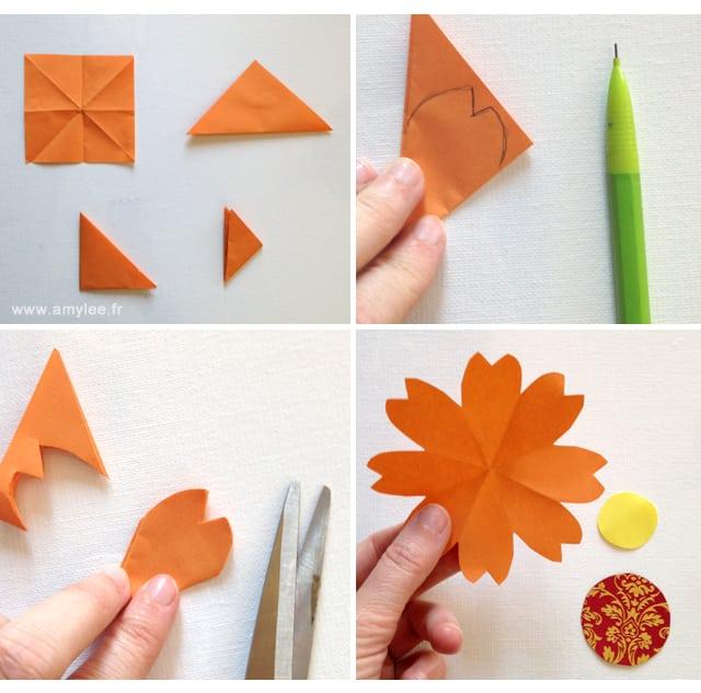 Pliage fleurs papier