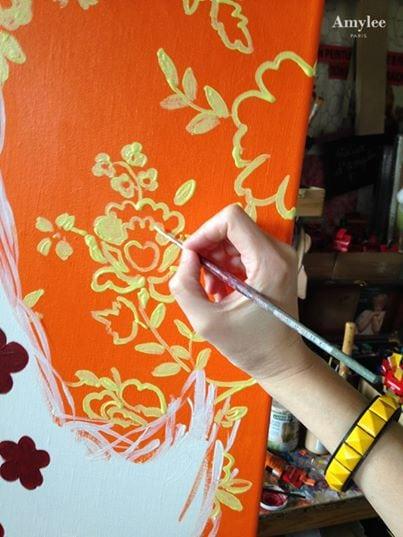 orange jaune peinture fleurs amylee peintre