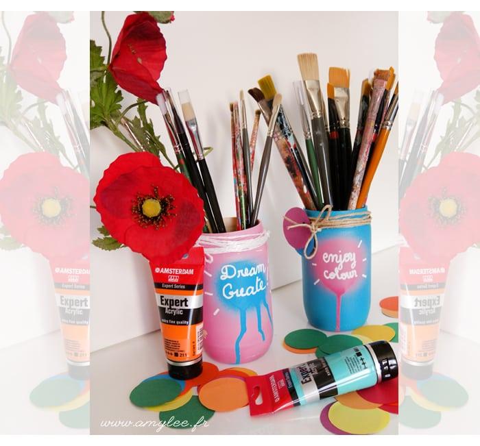 bocal peinture pinceaux rangement art