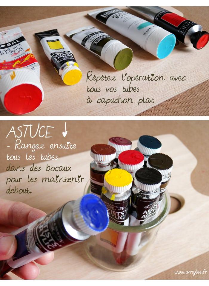 idée tubes peinture rangement atelier artiste