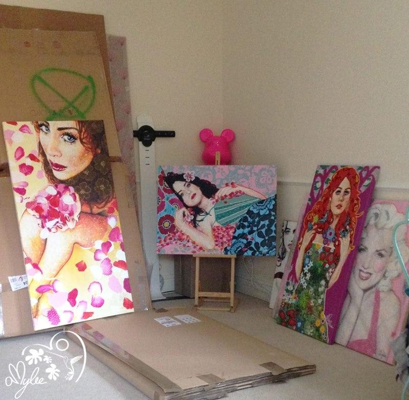 tableaux, atelier, studio, emballage