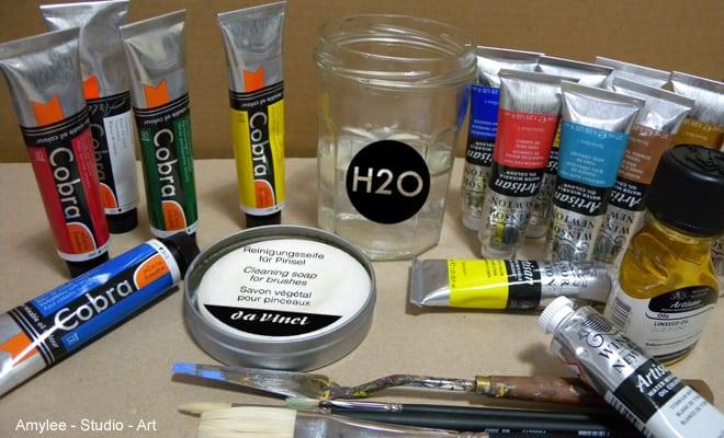 La peinture l huile diluable l eau amylee for Materiel peinture a l huile