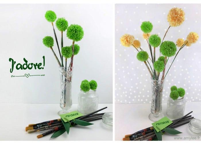pompons fleurs laine pinceaux artiste