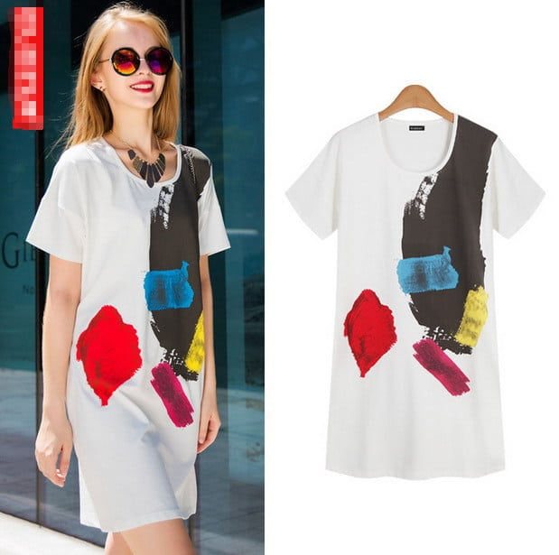 Women-Dress-New-Fashion-Comfortable-Paint-Ink-Style-T-Dress-Printed-Cotton-Round-Collar-Short-Sleeve