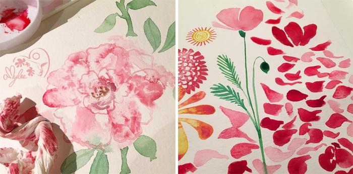 fleurs-aquarelle-eau-couleurs