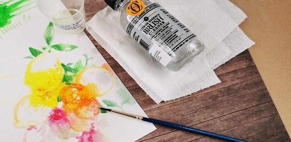 pastel huile dilution pinceau